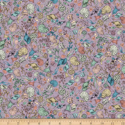 QT Fabrics Mirabelle Midnight Garden Packed Flowers Lilac