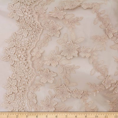 Telio Faye Mesh Embroidery Lace Gold