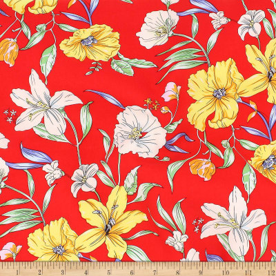 Telio Rayon Voile Floral Red