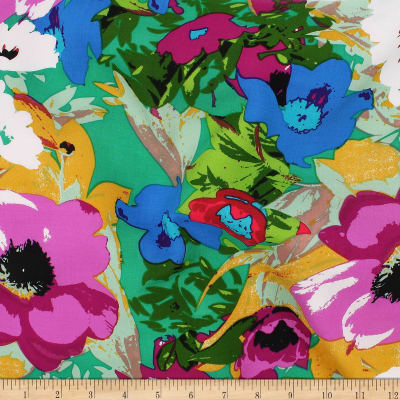 Telio Rayon Voile Floral Jade Purple