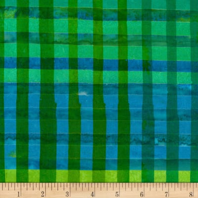 Kaufman Artisan Batiks Hand Painted Gingham Check Green
