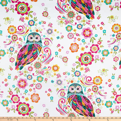 Wilmington Feathers and Foliage Owl and Flowers White