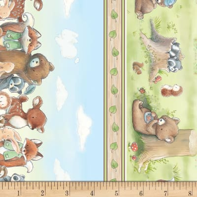 Timeless Treasures Camp Cricket Forest Friends Stripe