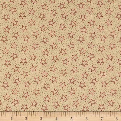"Patriotic 108"" Quilt Backs Star Dots Red /Antique"