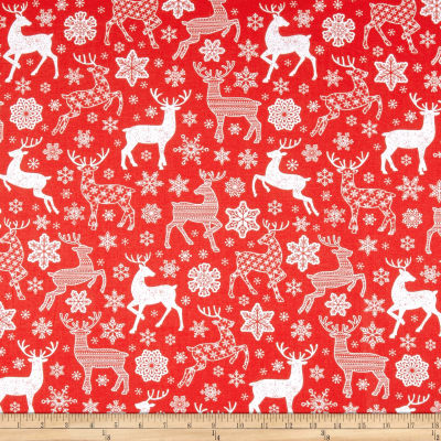 Christmas Reindeer and Snowflakes Red