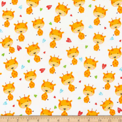 Henry Glass Flannel Puppy & Pals Tossed Giraffes White