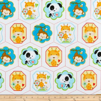 Henry Glass Flannel Puppy & Pals Characters In Hexies White/Multi