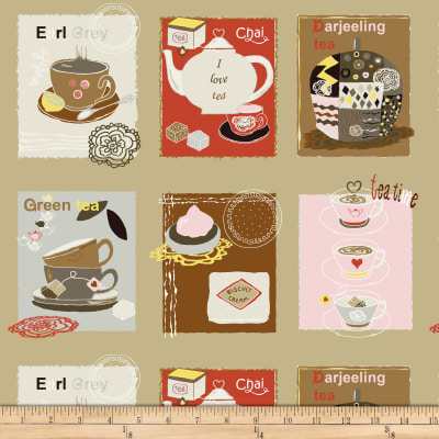 Stof Fabrics Denmark Five O'Clock Tea Tea Blocks Sand