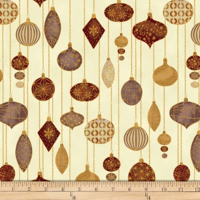 Stof Fabrics Denmark Glimmering Ornaments Metallic Cream/Gold