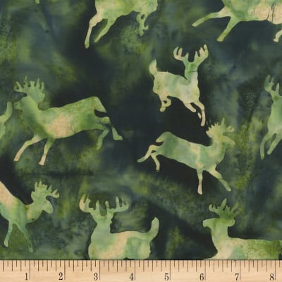 Anthology Batiks Novelty Northwoods Moose Green