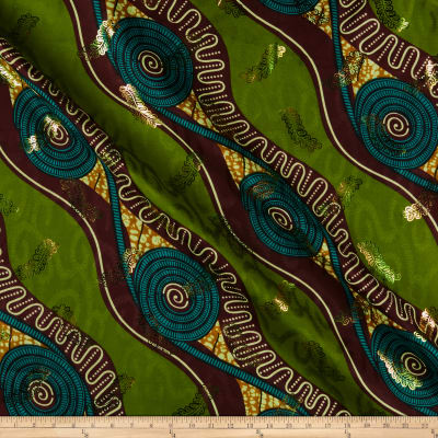 Supreme Basin African Print Broadcloth 6 Yards Metallic Gold Green