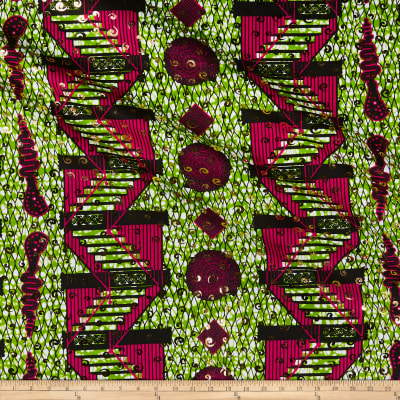 Supreme Osikani African Staircase Print Broadcloth 6 Yards Red/Green