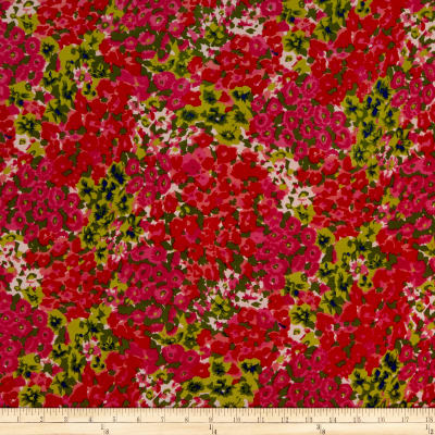 Chiffon Painterly Floral Clusters Print Pea Green/Red/Pink/Multi