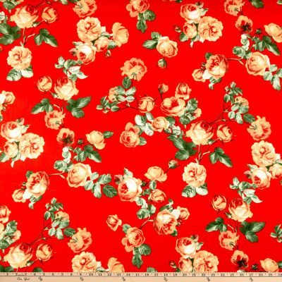 Double Brushed Poly Jersey Knit English Roses Red/Coral