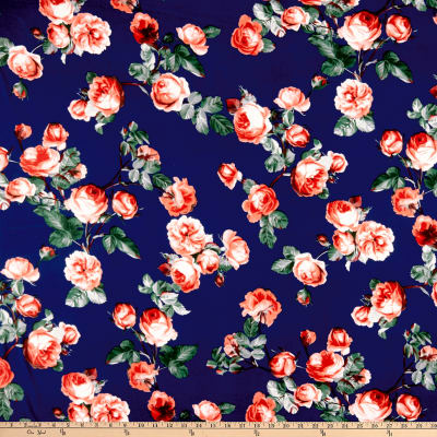 Double Brushed Poly Jersey Knit English Roses Navy/Coral