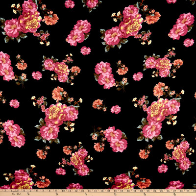 Double Brushed Poly Jersey Knit Floral Garden Black/Magenta