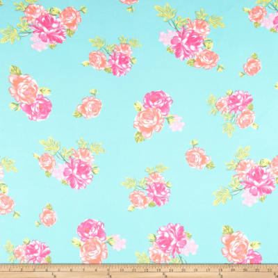 Double Brushed Poly Jersey Knit Rose Garden Mint/Pink