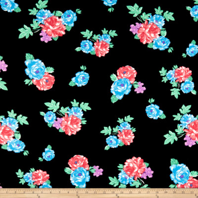 Double Brushed Poly Jersey Knit Rose Garden Black/Coral