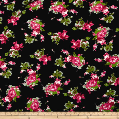 Double Brushed Poly Jersey Knit Rose Bouquet Black/Fushcia