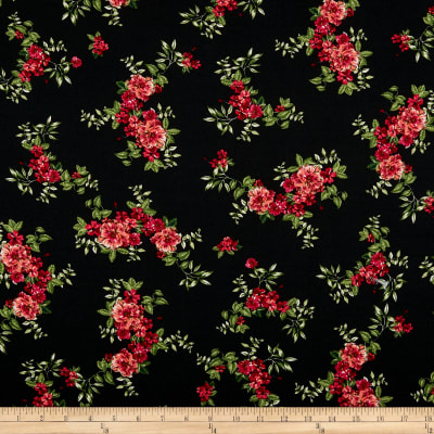 Double Brushed Poly Jersey Knit Tropical Flowers Black/Red