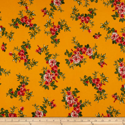 Double Brushed Poly Jersey Knit Tropical Flowers Mustard/Red