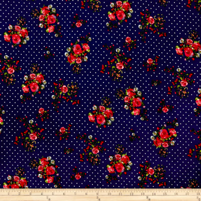Double Brushed Poly Jersey Knit Dots and Roses Navy/Ivory