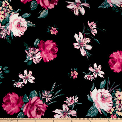 Double Brushed Poly Jersey Knit Floral Garden Black