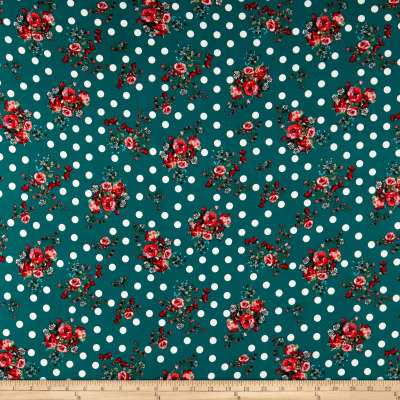 Double Brushed Poly Jersey Knit Dots and Rose Bouquet Jade