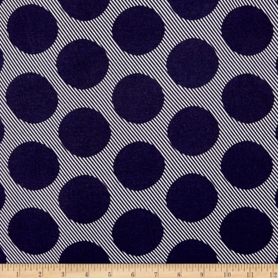 Double Brushed Poly Jersey Knit Abstract Dots Navy