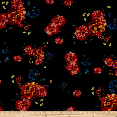 Liverpool Double Knit Floral Coral/Navy