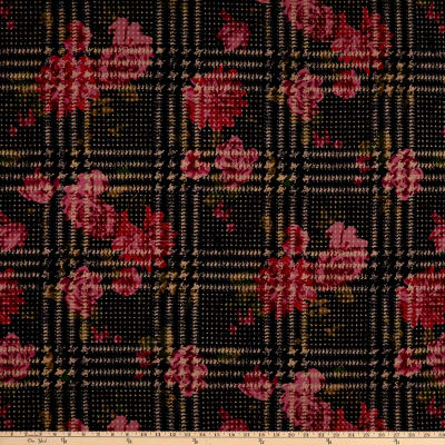 Liverpool Double Knit Plaid Floral Navy/Coral