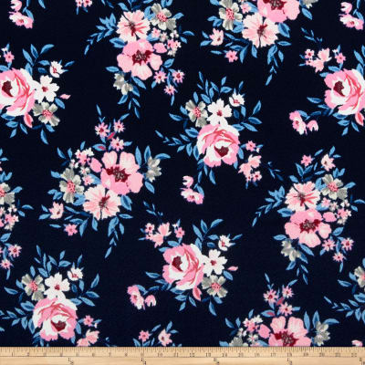 Liverpool Double Knit Floral Bouquet Navy/Pink