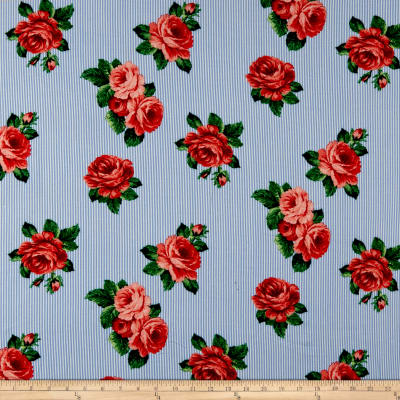 Rayon Challis Striped Roses Blue/Red