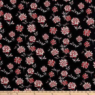ITY Stretch Jersey Knit Mini Floral Black/Red