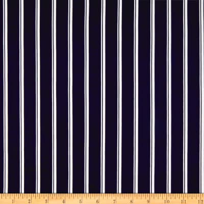 ITY Stretch Jersey Knit Small Double Stripe Navy