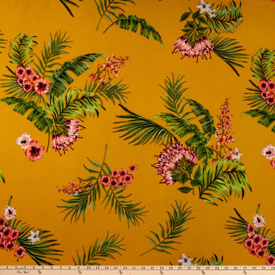 ITY Stretch Jersey Knit Tropical Floral Mustard/Mauve