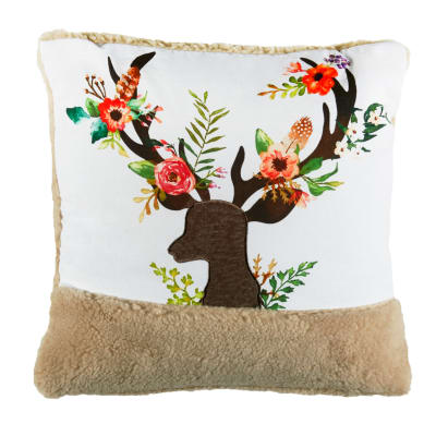 "STOF France 15.7"" x 15.7"" Conte Deer Throw Pillow Naturel"