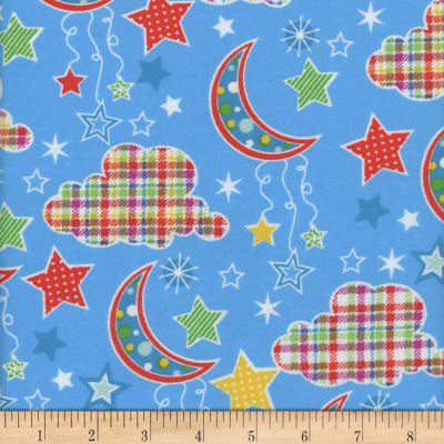 Flannel Snuggy Dotted Moon Blue