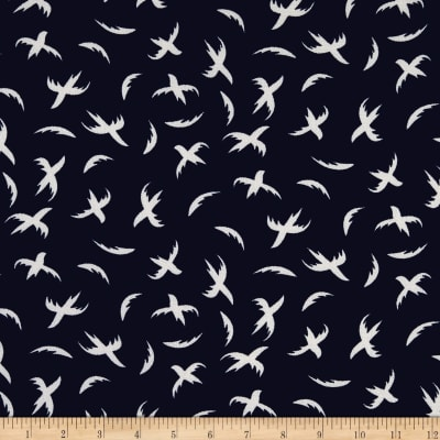 Telio Pebble Crepe Print Birds Navy White