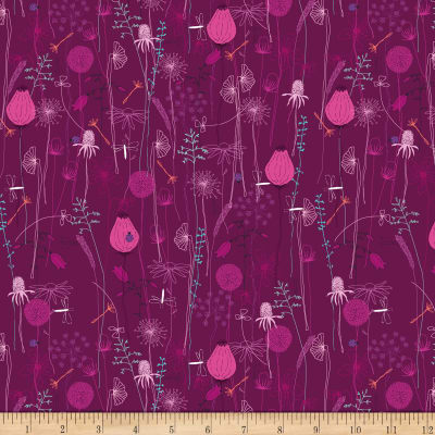 Stoffabric Denmark  Roadside Flowers Leaf, Flowers, Animal, Nature Pink