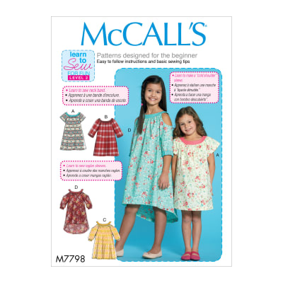 McCall's M7798 Learn to Sew for Fun Children's/Girls' Dresses CHJ (Sizes 7-14)