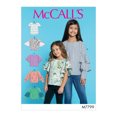 McCall's M7799 Children's/Girls' Tops CHJ (Sizes 7-14)