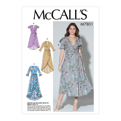 McCall's M7801 A/B, C and D Cup Sizes Misses' Dresses and Belt E5 (Sizes 14-22)