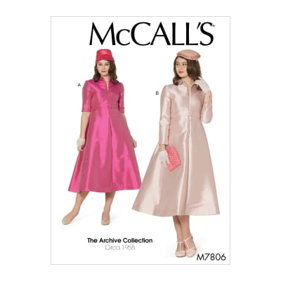 1950s Fabrics & Colors in Fashion McCalls M7806 The Archive Collection Misses Dresses A5 (Sizes 6-14) $13.17 AT vintagedancer.com