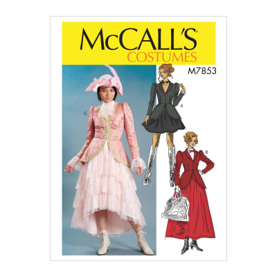 Steampunk Sewing Patterns- Dresses, Coats, Plus Sizes, Men's Patterns McCalls M7853 Misses Costume Pattern E5 (Sizes 14-22) $11.97 AT vintagedancer.com