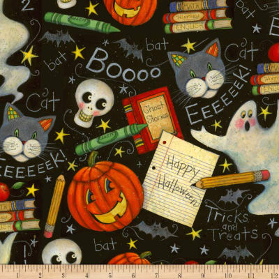Susan Winget Halloween Spooky Chalkboard Eco Canvas Black