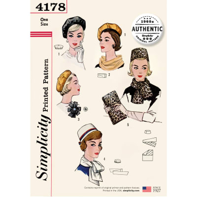 Tea Party Hats – Victorian to 1950s 60s Simplicity 4178 Misses Vintage 60s Accessories OS (One Size) $18.32 AT vintagedancer.com