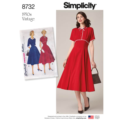 1950s Sewing Patterns | Dresses, Skirts, Tops, Mens 1950s Simplicity 8732 Misses Vintage Dress U5 (Sizes 16-24) $18.32 AT vintagedancer.com