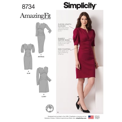 Simplicity 8734 Plus Sizes Misses'/Women's Amazing Fit Dress AA (Sizes 10-18)
