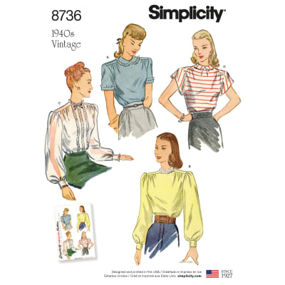 1940s Sewing Patterns – Dresses, Overalls, Lingerie etc 1940s tops Simplicity 8736 Misses Vintage Blouses U5 (Sizes 16-24) $13.77 AT vintagedancer.com